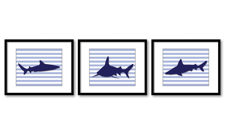 Shark Animals Art Prints Stripes Set of 3 Blue Sharks Boys Art Nursery Art Nursery Print Child Kids