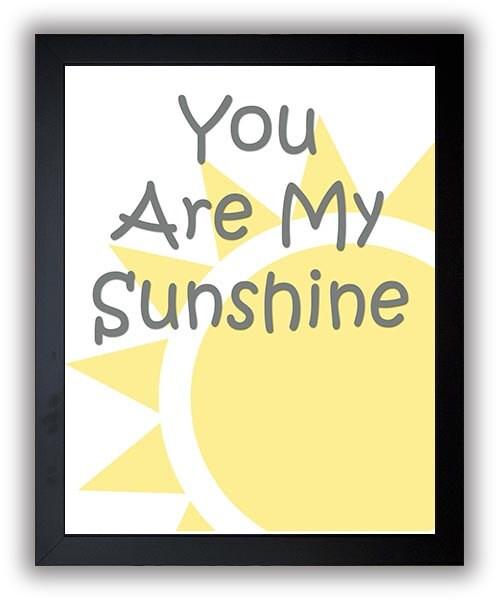 You Are My Sunshine Nursery Art Nursery Print Baby Art Sun Print Yellow Grey Gray Baby Art Baby Pink