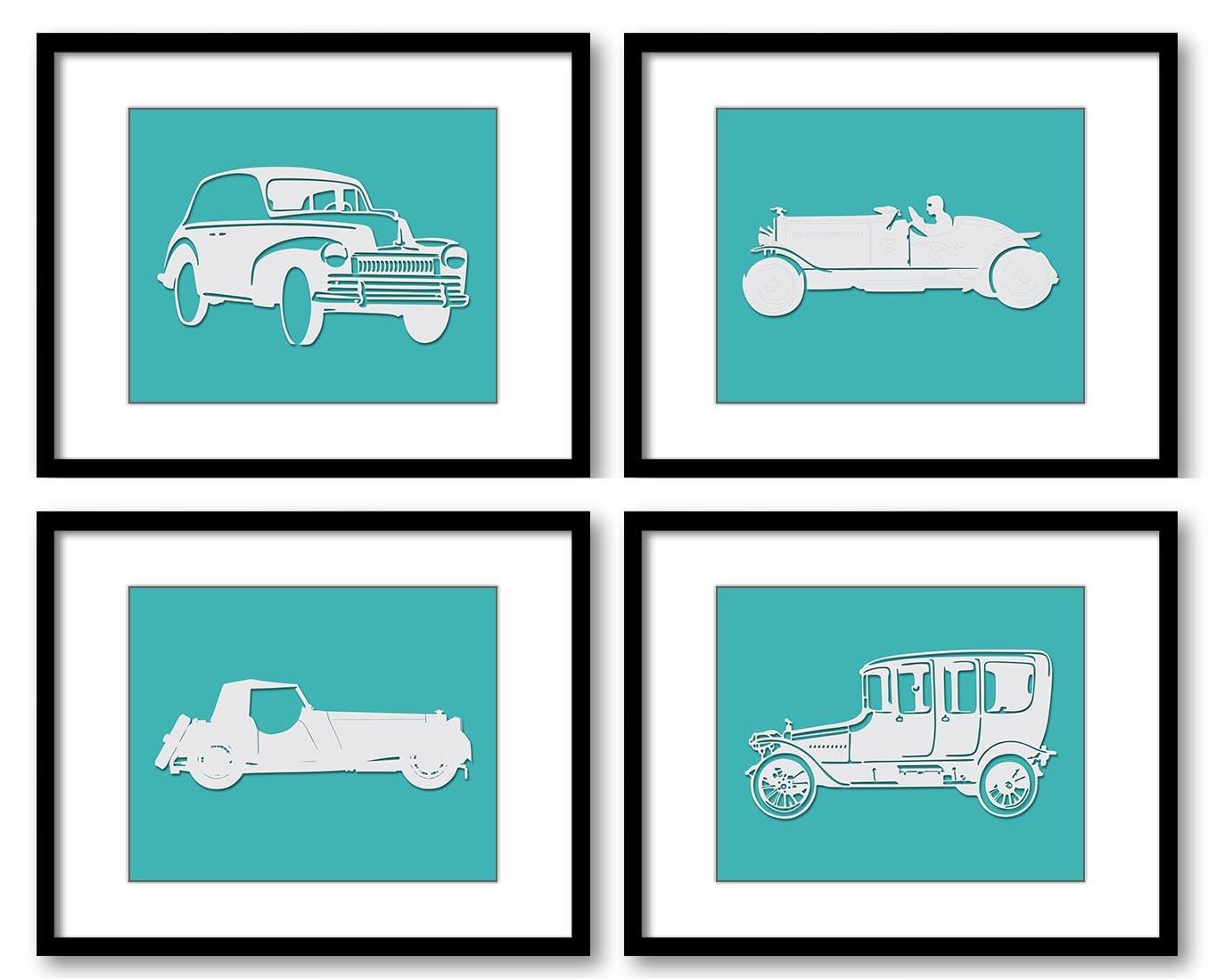 Green Teal Old Cars Classic Antique Vintage Kids Children Art Set of 4 Prints Boys Art Nursery Art N