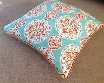 Large Cushion Floor Cushion Linen Mirage Boho Cushion Cover. Aqua Teal, Red, Orange, Lime, White. Scatter Pillows Floor Pillow 70cm +