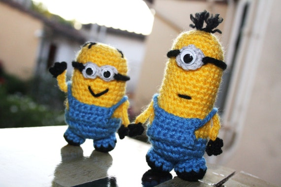 Amigurumi Minion Etsy : SET crocheted Minions Despicable Me Amigurumi doll