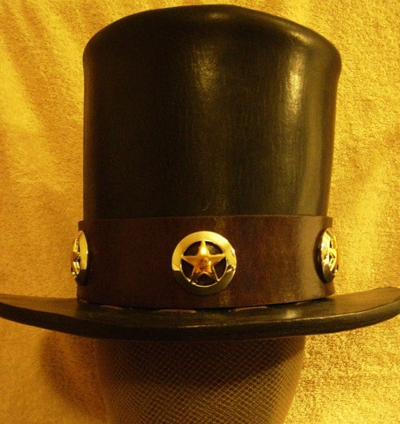 TOP HAT Black Handmade Leather Texas Ranger By TFcustomLeather