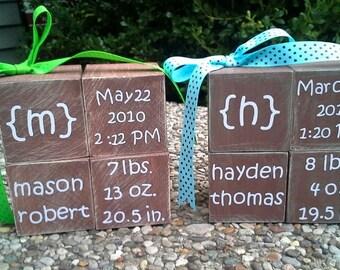 Wooden Blocks w/ Birth Stats