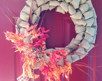 Fall leaves and burlap wreath
