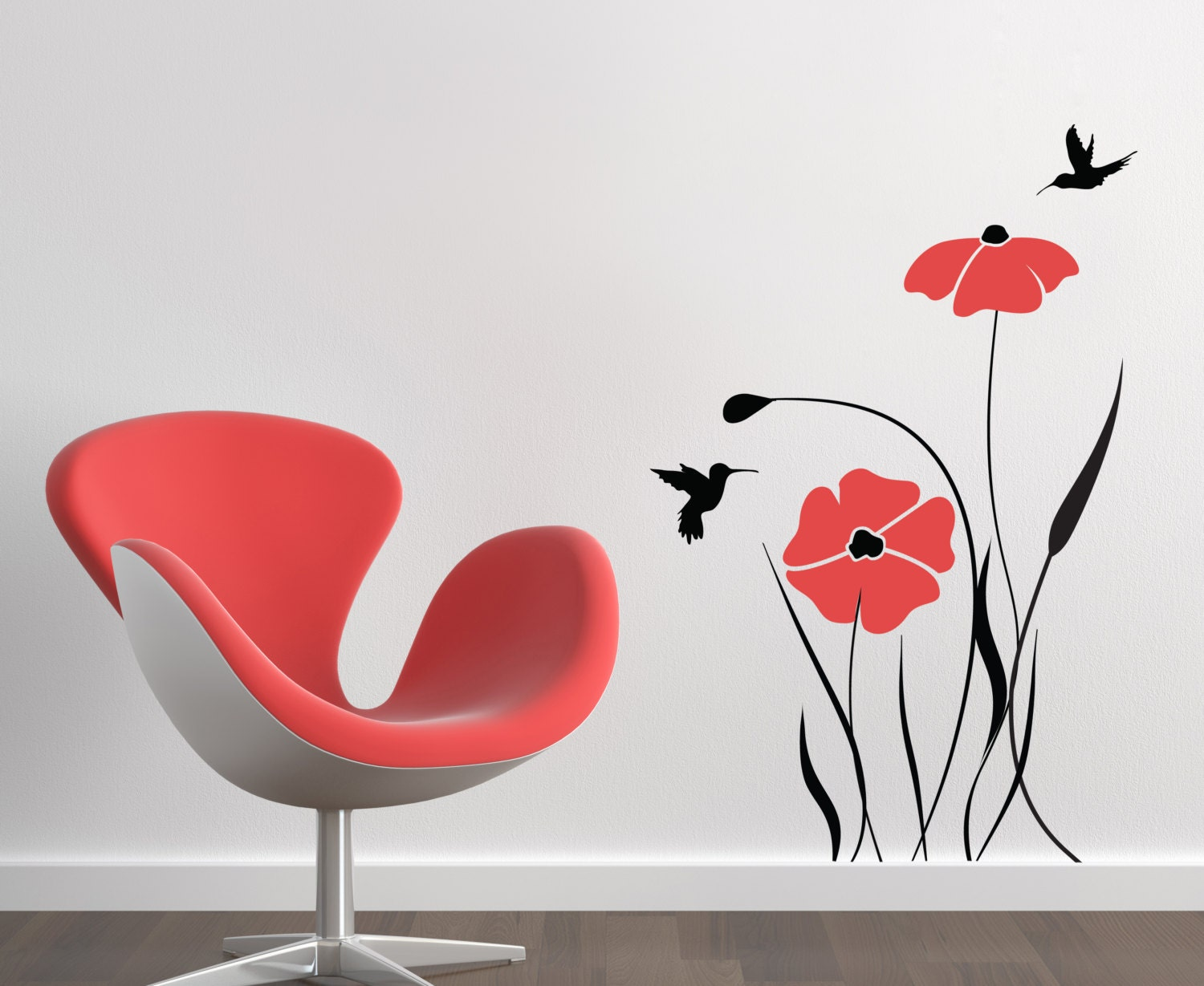 Red poppy flower decals for walls baby room designs decals for for Stickers pareti