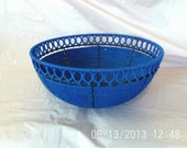 Royal blue hand woven fruit bowl - IslandBreezecandles