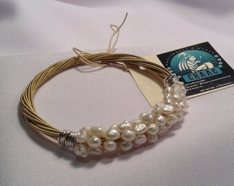 Guitar Strings Bangle Bracelet with Pearls
