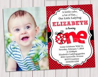 Ladybug Photo Invitation / Ladybug photo Invite / Cute Ladybug Invitation / 1st Birthday photo Invitation/ photo invitation
