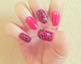 Pink Leopard Acrylic Nails w/ Rhinestones