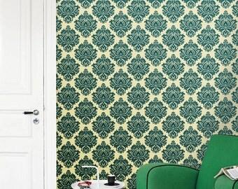 Removable self-adhesive modern vinyl Wallpaper wall sticker - Damask pattern wall art  C014
