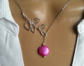 Freshwater Pink Coin Pearl Lariat Necklace