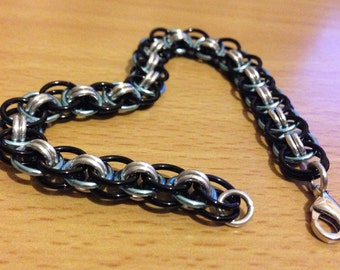 Light Blue Black and Silver Helm Weave Chainmaille Bracelet