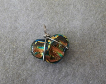 Silver wrapped dichroic glass heart pendant