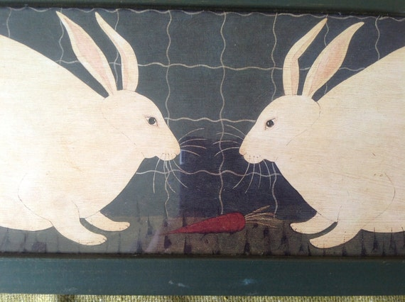 Warren Kimble Reproduction Painting Of Two Primitive Rabbits
