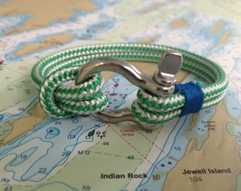 Sailwinds Nautical Rope Bracelet - Green Windjammer Bracelet for Sailors, Surfers, Kayakers and Other Ocean Sports & Beach Enthusiasts