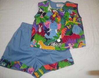 Size 4T Jungle Animals Print Sleeveless Shirt and Short Set