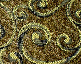 4 -1/4 Yards Designers Scroll Work Blend Upholstery Fabric with Textured Pile/Nap - Gorgeous!