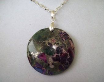 Purple and Green Ocean Jasper Stone Pendant