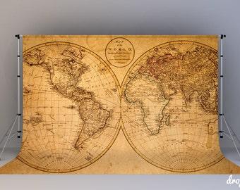 Nautical World Map - Photography Backdrop