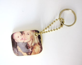 Custom Photo Mini Keychain, perfect gift idea for grandparents, holidays, birthdays, newparents mother's day gift, gift for mom