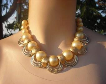 Dressy Large Pearl/Gold Statement Necklace - Adjustable