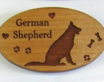 Original Design German Shepherd Wood Magnet