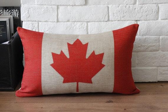 ON SALE Linen Cotton Vintage Retro Canada Flag By Bestlove2u