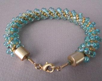 Matte Gold and Seafoam Green Kumihimo Bracelet