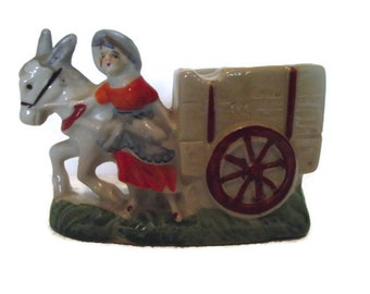 Vintage Donkey Pulling Cart with Lady, Hand Painted Small Ceramic Planter