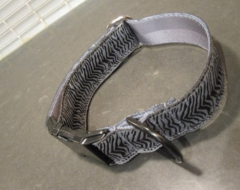 "The Little Gray Zebra.  1"" Gray/ Silver Zebra Quick Release or Martingale Dog Collar"