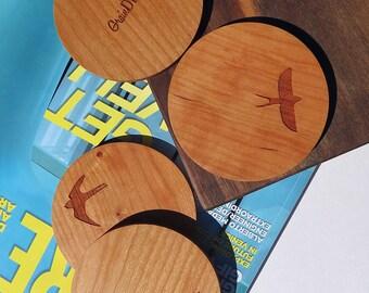 Wood Coasters - Set of 4 - Wood Bird Coasters - Flying Birds - set of 4