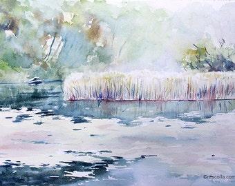 Marshland at Fishkill Creekorginal watercolor painting 16 x 12