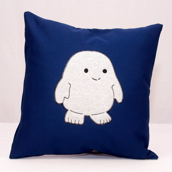 Doctor Who Adipose Applique on Navy Twill Pillow 16x16