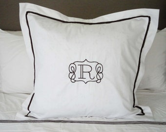 Monogram Euro Pillow Sham with Mini Pom Pom Trim / Monogram Bedding / Monogram Pillow