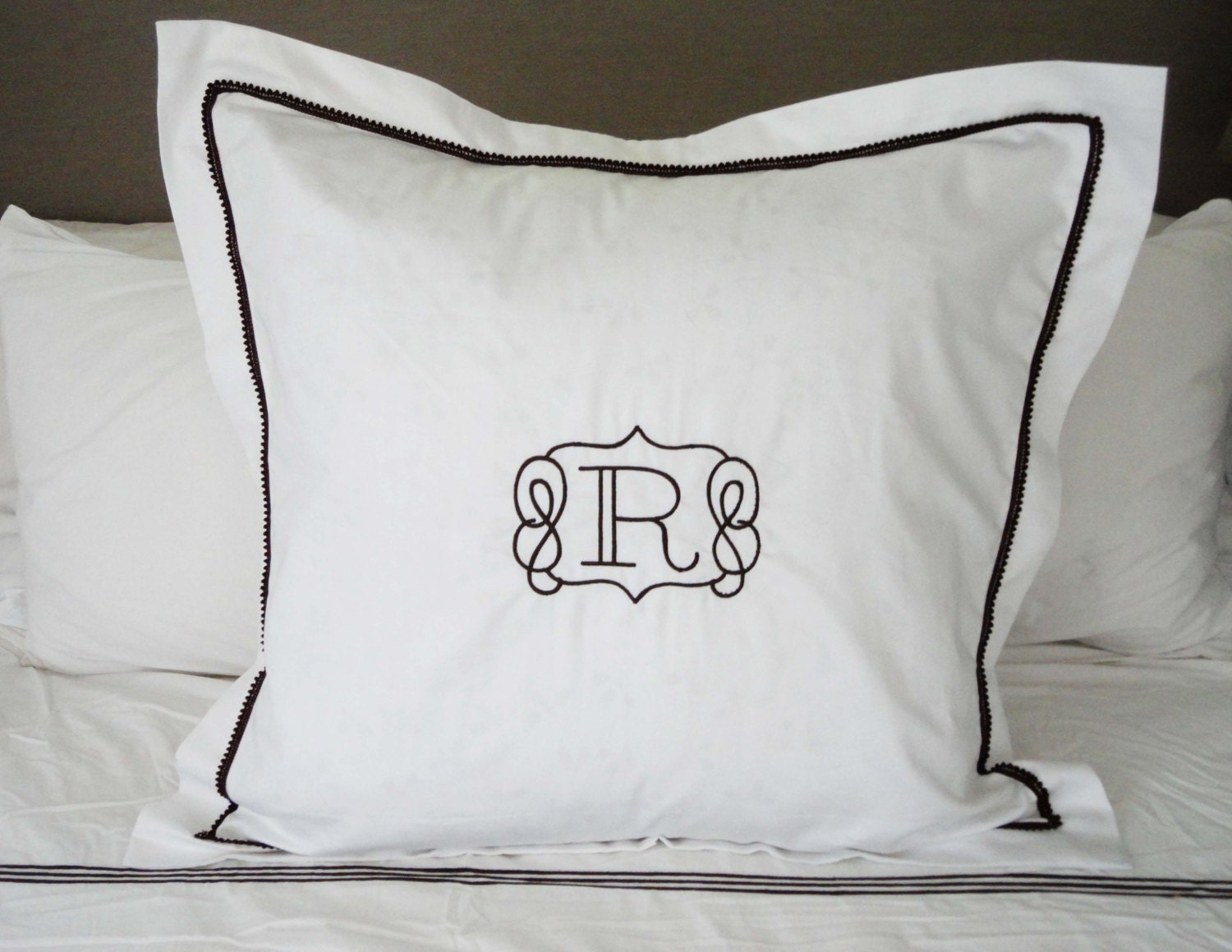 Monogram Euro Pillow Sham With Mini Pom Pom Trim Monogram