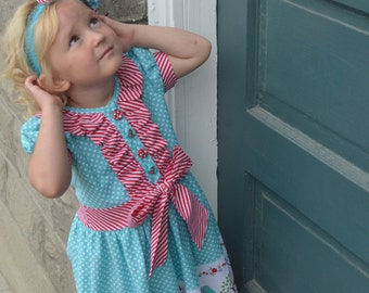 Girls and Tweens Classic Ruffle Dress or Shirt, PDF Sewing Pattern, Sizes  2T-8, 10-16