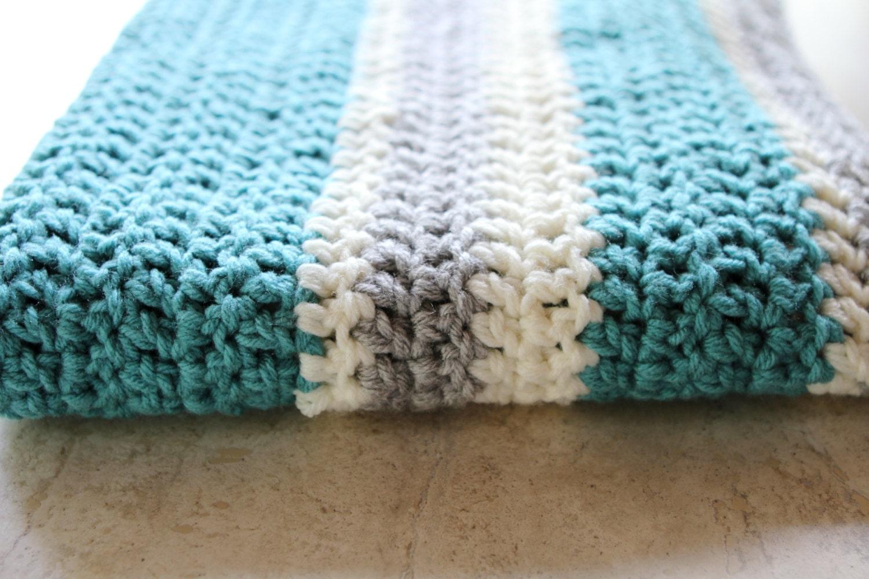 Modern Crochet Patterns For Baby Blankets : Chunky Striped Modern Crochet Baby Blanket Cream Aqua