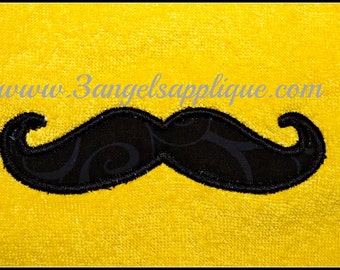 Mustache applique design 3 sizes INSTANT DOWNLOAD