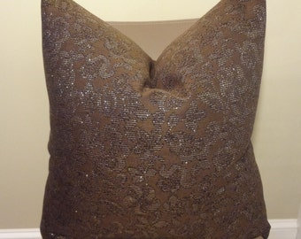 Designer Pillow Cover Chocolate Brown and Gold Thread Toss Pillow Accent Pillow Throw Pillow