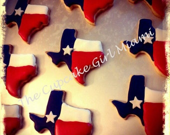 Texas state sugar cookie 1 Dozen Texas cookies party favors