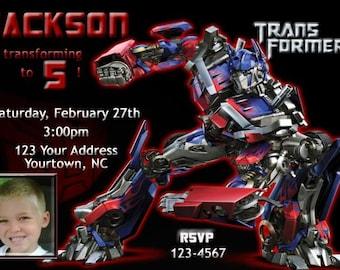 Transformers Optimus Prime Birthday Party You Print Birthday Invitation Digital