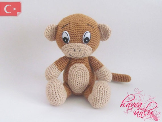Amigurumi Monkey Etsy : PATTERN Cute Monkey Crochet-Amigurumi by HavvaDesigns on Etsy