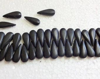 Coal Black Lava Tear Drop stone Beads - 25 pcs