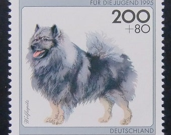 Wolfsspitz German Spitze Dog Germany -Handmade Framed Postage Stamp Art 5377