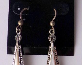 Vintage Sterling Silver Abalone signedSC  Pierced Dangling Earrings