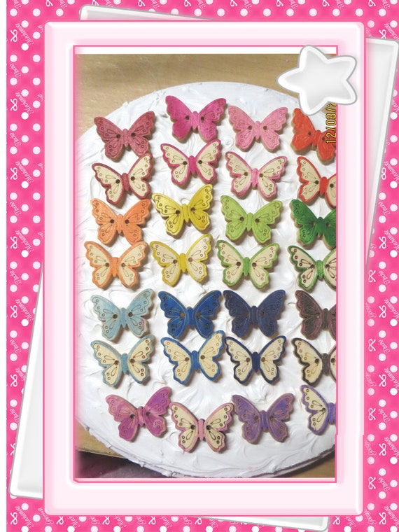 0: )- CABOCHON -( WOODEN Butterflies all Different Colors