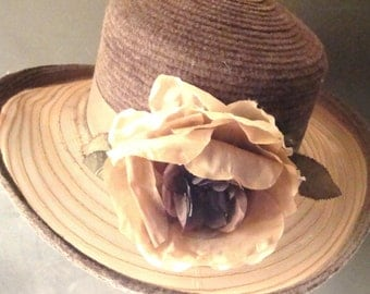 "Expresso Brown 4"" Brim Hat with large flower"