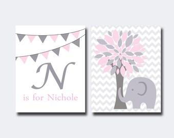 Elephant Nursery Art, Wall Art Prints, Pink & Grey Personalized Elephant Nursery Prints, Baby Nursery Wall Art Print, Bedroom Decor-N16,11