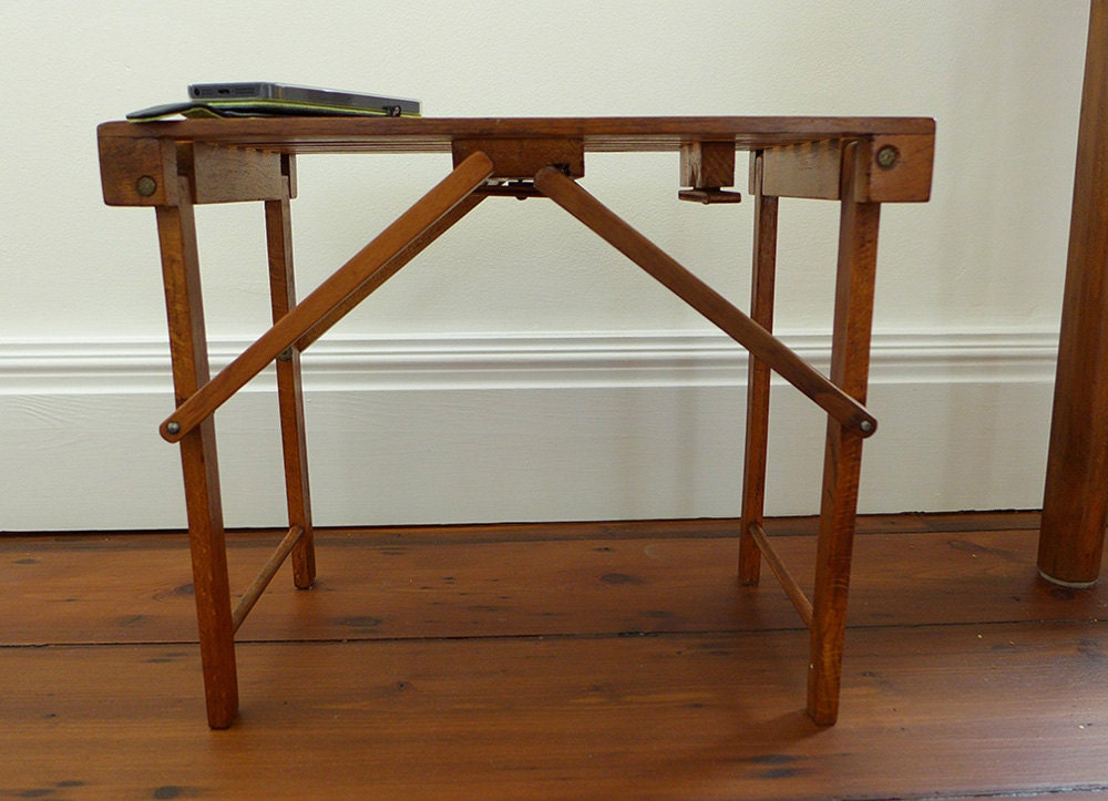 Little Vintage Wooden Folding End Table Stool Side Table For