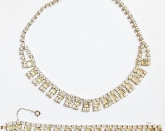 Sparkly Clear Rhinestone Necklace & Bracelet Set